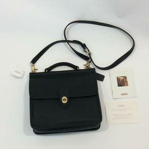 NWT Coach black leather Willis messenger bag